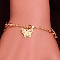 bracelet de cheville en or achat en gros de-Nouvelle arrivée 18K Gold Filled Anklets Mode Femmes Papillon conception FOOT CHAIN doré couleur bracelet Party Gift Bracelet Bijoux