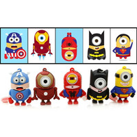 Wholesale Minion Drive - Epakcet 10pcs Cartoon minions Captain America superman batman USB 64GB 128GB 256GB usb flash drive super hero pendrive thumb drive