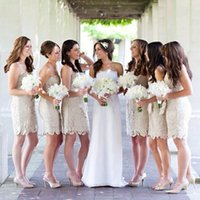 Wholesale Short Dresses For Bride Maids - Modest Champagne Lace Bridesmaid Dresses Strapless Ribbon Short Wedding Party Dress Bride Maid of Honor Dress for Women