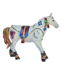 decoração cavalo branco venda por atacado-Cavalo branco bejeweled jóias trinket caixa de metal escultura de mesa decoração de jóias organizador lembrança animal estátua