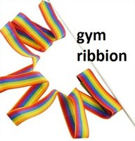 Wholesale 4 Meter Rainbow Rhythm Ribbon Set rhythmic gymnastics ribbion Gym dance ribbion Dazzler Ribbon One Individual Ribbon