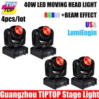 Wholesale 55w Led Head Light - Wholesale-Freeshipping 4pcs lot 40W Led Moving Head Light Stage Super Beam Effect USA LumiEngin CU RGBW Led Lamp 55W 110V-240V DMX 7 16 CH