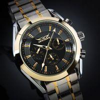 relojes mecánicos elegantes al por mayor-Jaragar marca moda hombres esfera negra dorada elegante 6 manos reloj mecánica automática multifunción