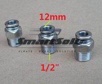 """Wholesale pneumatic push fittings - 2pcs lot 2MM Tube Size 1 2"""" Thread Pneumatic Male Straight push-in fitting 304 stainless steel PC12-04"""