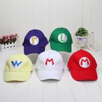 Wholesale Red Hat Videos - Super Mario Bros Baseball Hat Caps Set Of 5 Red Mario Green Luigi Hats