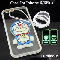 Wholesale Cute Purple Lanyard - Cute silicone gel luminous Doraemon Flash On Call ultrathin Case Cover For iphone 6 4.7inch iphone 6 plus 5.5 inch iphone 5 5s with Lanyard