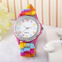 Wholesale Silicone Band Rhinestone Crystal - Best Deal New Fashion Women Rainbow Crystal Rhinestone Watch Silicone Jelly Link Band 1pc