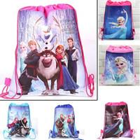 Wholesale Shopping Bags For Kids - 2015 New Nylon Frozen Anna Elsa School Bags Backpack Frozen Drawstring Bags Children Bags kids Shopping Bags Gift for Kids 11257
