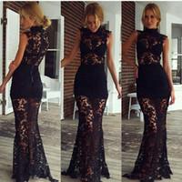 Wholesale Gold Sequin Dress Full Length - Black Full Lace Sheer High Neck Long Evening Dresses Ladeis Party Formal Wear Sleeveless Floor Length Cheap 2017