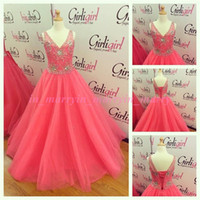 Wholesale High Glitz Pageant Dress Cupcake - Pink Real Pictures Girls Pageant Dresses 2015 A Line V Neck Crystal Rhinestone Plus Size Ritzee Cupcake High Glitz Pageant Gowns For Kids