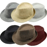 Wholesale Chapeu Feminino Caps - 2015 Fashion Men Women Casual Fedora Hat Pinched Crown Beach Sun Cap Panama Hat Unisex Top Quality Chapeu Feminino GA0051