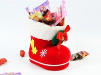 Wholesale Shoe Trees For Boots - 2015 New Free shipping Christmas decoration christmas boots candy box for kids shoes christmas gifts bags Christmas candy bag