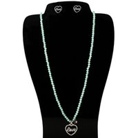 Wholesale Heart Shaped Agate Stone - TL Natural Green Stone Bear Necklace Jewelry Gold Silver Filled Heart Shaped Pendant Jewelry Set For Women