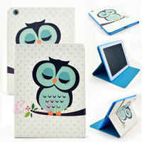 Wholesale Owl Tablet Cases - For iPad 4 3 2  air 5  6  Mini Fashion Owl Cartoon Flower Flip Leather Tablet Case Cover With Stand Holder Folding Folio