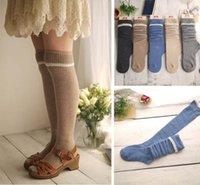 Wholesale Thermal Knee High Socks Women - Wholesale-1 Pair New Winter Autumn Women Turn Up Rib Knee High Wool Cashmere Socks Knee High Thermal Socks