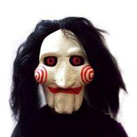 Wholesale Head Scary Movie - Wholesale-2016 Popular New Saw Movie Jigsaw Puppet Mask Halloween Full Mask Head Latex Creepy Scary
