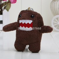 Wholesale Teddy Keyrings Wholesale - Wholesale-10pcs Lot 3.5'' DOMO KUN TEDDY KEYCHAIN KEYRING PLUSH DOLL JDM JAPANESE TOY PHONE CHARM Wholesale and Retail