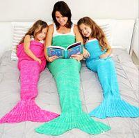 Wholesale Free Adult Tv - 7 Color Mermaid Tail Blanket Adult Little Mermaid Blanket Knit Cashmere-Like TV Sofa Blanket FREE shiping