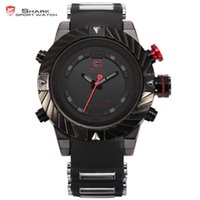 Wholesale Silicone Watch Waterproof 3atm - New Swirl Bezel Shark Tooth Sport Racing 3ATM Digital Waterproof Wrap Silicone Strap Black Red Fashion Men Casual Watch   SH166