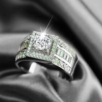Wholesale Men Rings Gem - Size 8-13 Hot sale Luxury Jewelry 10kt white gold filled white topaz Gem Men wedding simulated Diamond Wedding Engagement Ring set gift