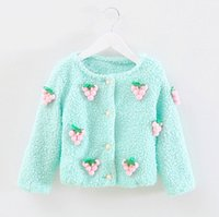 Wholesale Girls Lambs Wool Coat - The new 2015 autumn outfit children han edition lambs wool stereo small grape fruit coat tide cute cardigan of the girls BH1210