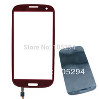 Wholesale Replacement Glass Galaxy S3 Red - Wholesale-Free Shipping Outer Touch Screen Top Glass Lens Replacement for samsung Galaxy S3 i9300 Glass Replacement Red