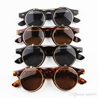 Wholesale Retro Steampunk Flip Up Glasses - Hot Sale Steampunk Goth Glasses Goggles Round Flip Up Sunglasses Retro Vintage Fashion Accessories GS-056