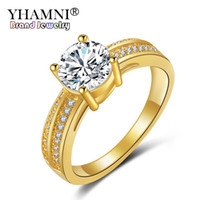 YHAMNI Fine Jewelry Royal 24K Anéis de Ouro Amarelo para Mulheres 1 Carat CZ Diamond Engagement Wedding Ring Set Gold Color Ring YR139