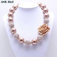 Wholesale Pearl Necklace For Flower Girls - MHS.SUN Rose Flower Kid Chunky Necklace Gold Color Pearl Beads Fashion Bubblegum Bead Chunky Necklace Children Jewelry For Toddler Girls
