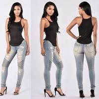 yüksek belli seksi kot pantolon toptan satış-Kadınlar İnce Denim Düz Biker Skinny Jeans Bayan Stretch Seksi Skinny Jeans Bayan Yüksek Waisted Slim Fit Kot Pantolon Ripped Ripped