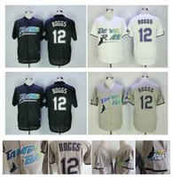 Wholesale Vintage White Top - 2018 New Mens Tampa Bay Rays #12 Wade Boggs VINTAGE Baseball Jerseys Pullover Mesh BP Throwback Cooperstown Black Jersey Top Quality !