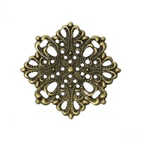 "Wholesale Flower Embellishments - Jewelry Findings Embellishments Findings Filigree Wraps Connectors Flower Antique Bronze 4.4cm x 4.4cm(1 6 8"" x1 6 8""),100 PCs"