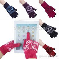 Wholesale Touch Gloves Deer - Mens Women's Warm Capacitive Touch Screen Knitted Gloves Unisex Winter Deer Print For Tablet Smartphone