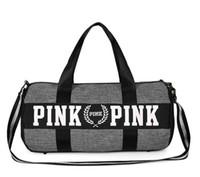 Wholesale Cosmetic Bags Train Cases - Women Handbags VS PINK Travel Trip Cosmetic makeup train case Bag Duffle Striped Waterproof Beach Bag