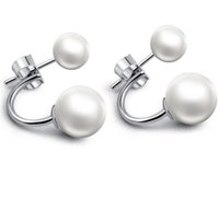 Wholesale Stud Hoop - New Mic 925 Silver White Seashell Pearl Rhodium Plated Hoop Stud Earrings Fashion Hot sell Jewelry