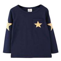camisas de bebé patrones de animales al por mayor-Baby Boy Camisetas Star Pattern Algodón de manga larga Tops Niños Niñas Ropa de primavera Camisetas para niños Ropa casual