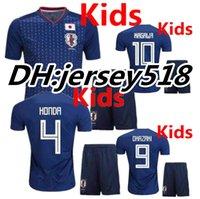 Wholesale Japan 18 - 2018 World Cup kids Japan home blue soccer jersey OKAZAKI KAGAWA HASEBE NAGATOMO 17 18 Japan Children football shirts
