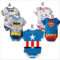 Wholesale Long Sleeve Batman Baby Onesies - new 5 color kid batman Captain America jumpsuits Onesies superhero clothing baby superhero romper christmas bodysuit Romper Suit