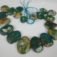 Wholesale Sliced Agates - 19pcs 1Strand Green Druzy Agate Gemstone Bead, Natural Slice Coin Jewelry Gemstone Drusy Druzy Agate Necklace Pendant Necklaces Connector