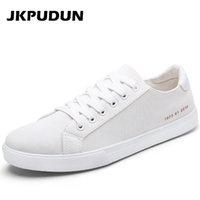 Wholesale Mens Plimsolls - JKPUDUN Men canvas Shoes Casual Outdoor Plimsolls Luxury Brand Designer Fashion Mens Trainers Breathable Flats White Alpargatas