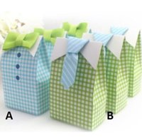 Wholesale Tie Boxes Wholesalers - My Little Man Blue Green Bow Tie Birthday Boy Baby Shower Favor Candy box Brand New Good Quality