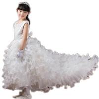 Wholesale Girls Lace Tops Flowers - Top grade Girls dress scoop sleeveless lace beading layered long trailing flower girl's dress Performance dress kids formal dress