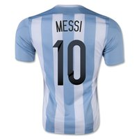 Wholesale Wholesale Soccer Drop Ship - Drop Shipping Accepted,Customized Thai Quality 2015 -2016 Argentina Home jersey 10 MESSI Football Soccer Tops Jersey,2015 New Soccer Shirts