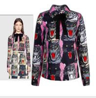 блузки длинные спины оптовых-2017 Tiger Head печати с длинными рукавами женские блузки бренд же стиль рубашки женщины обратно кнопки блузки женщины 110133