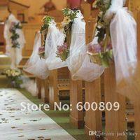 medidor de organza de la boda al por mayor-2016 Nuevo White Organza Yarn Chair Sash Sash For Wedding Telpiece Centerpieces Supplies Suministros de Decoración 50 Metros Rollo Envío Gratis