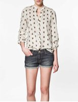 Wholesale Horses Chiffon Shirt - 2015 excellent quality, exclusive horse head printed fashion rivet long sleeve chiffon ladies blouse shirt