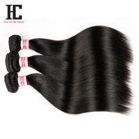 7a remy insan saçı toptan satış-Satışa brezilyalı saç Malezya Bakire Saç Düz Saç 3 Adet 7A Bakire Malezya Düz Saç Remy İnsan Saç Dokuma Paketler