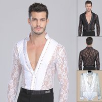 Wholesale Yellow Latin Performance - Men Boy Performance Latin Dress Tops Diamond Lace Long Sleeve Dance Dress Ballroom Dance Competition Dresses Latin Tops Shirt DQ6004