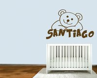 Wholesale Teddy Wall Decals - Custom Any Name Personalized Kids Name Teddy Bear Cartoon Wall Decal Stickers for Room Decor