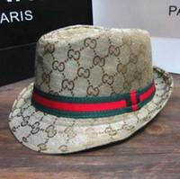 Wholesale Cowboy Hats Ribbon - Wholesale-Women Men Summer Fedoras Hats Panama Fedora Style Beach Sun Jazz Mens Hat Black Ribbon Cowboy Cap